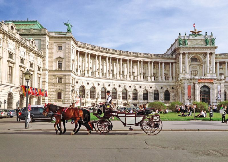Hofburg palace and square view