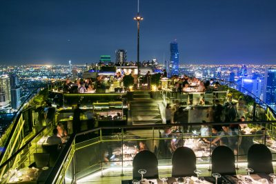 Rooftop restaurant at night time