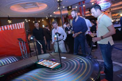 Corporate carnival event Scalextric track