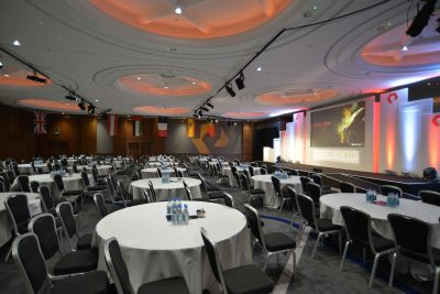 A large EMEA conference room ready to receive guests for the gala award ceremony event.