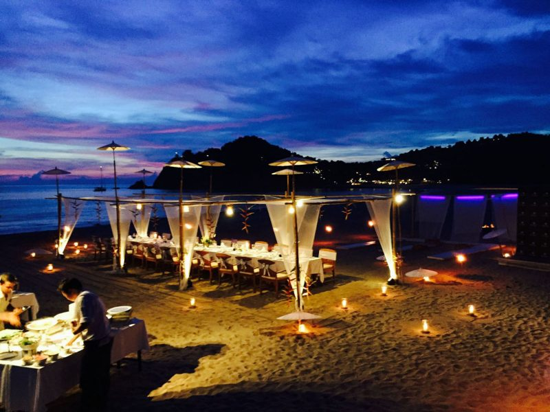 Incentive travel to Thailand nightime beach restaurant